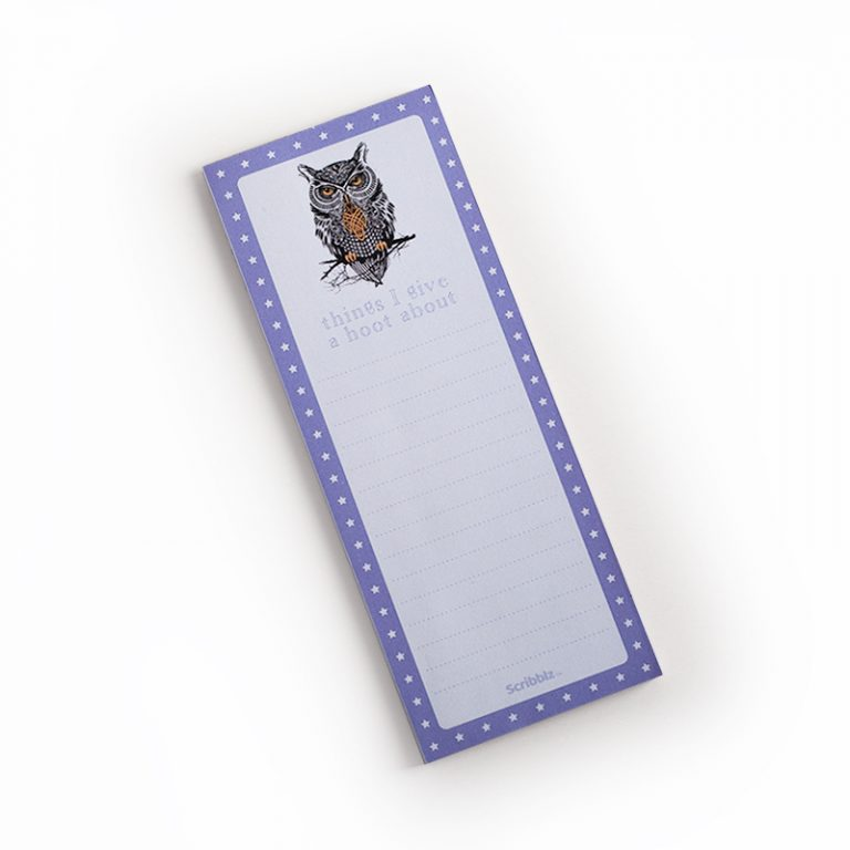 Image shows Owl Scribblz Notepad