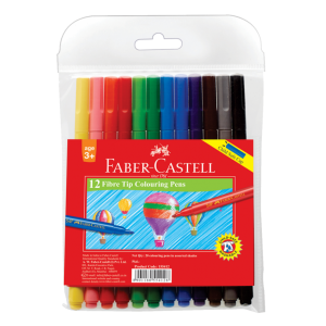 Image shows 12 packaged Faber-castell Fibre Point Pens