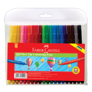 Image shows 20 packaged Faber-castell Fibre point colouring pens
