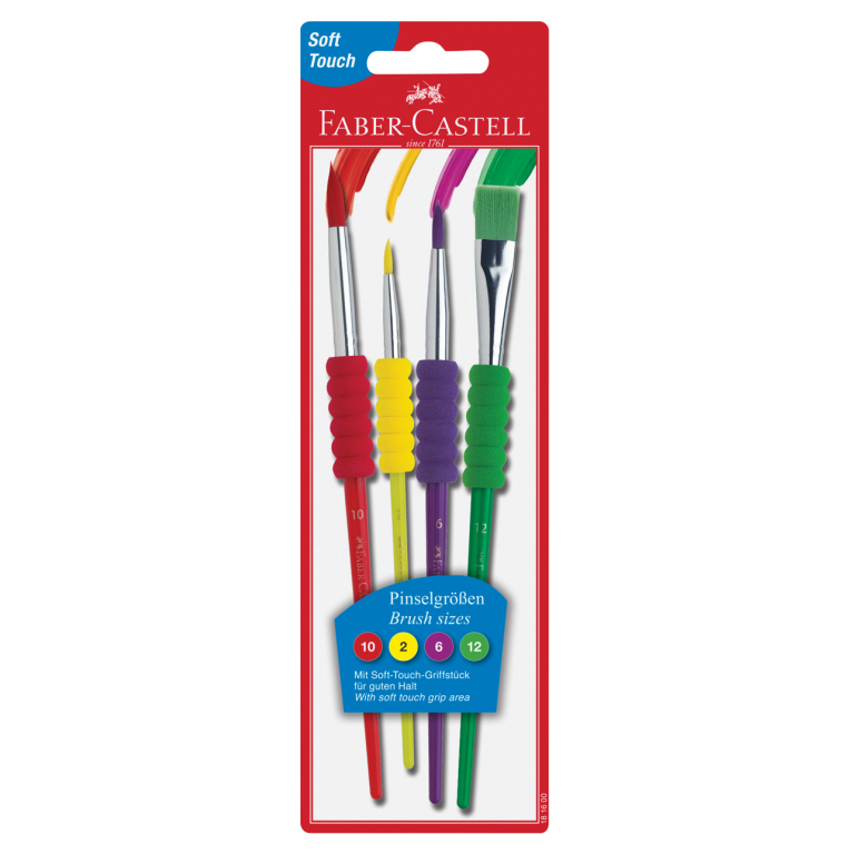 Image shows 12 packaged Faber-Castell paint brushes