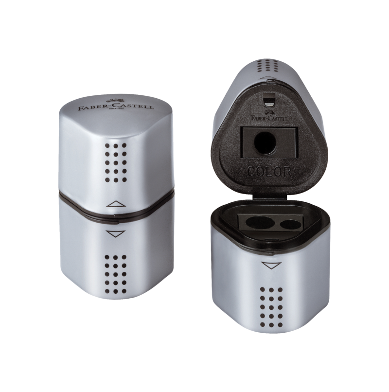 Image shows a silver Faber-Castell sharpener