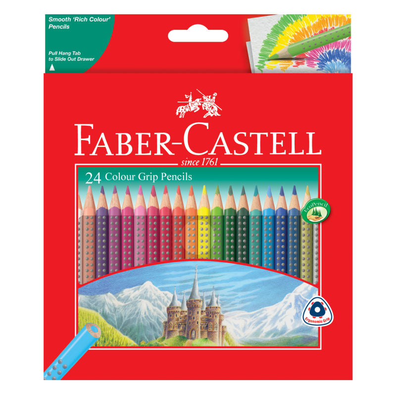 Image shows 24 packaged Faber-Castell Colour Grip Pencils