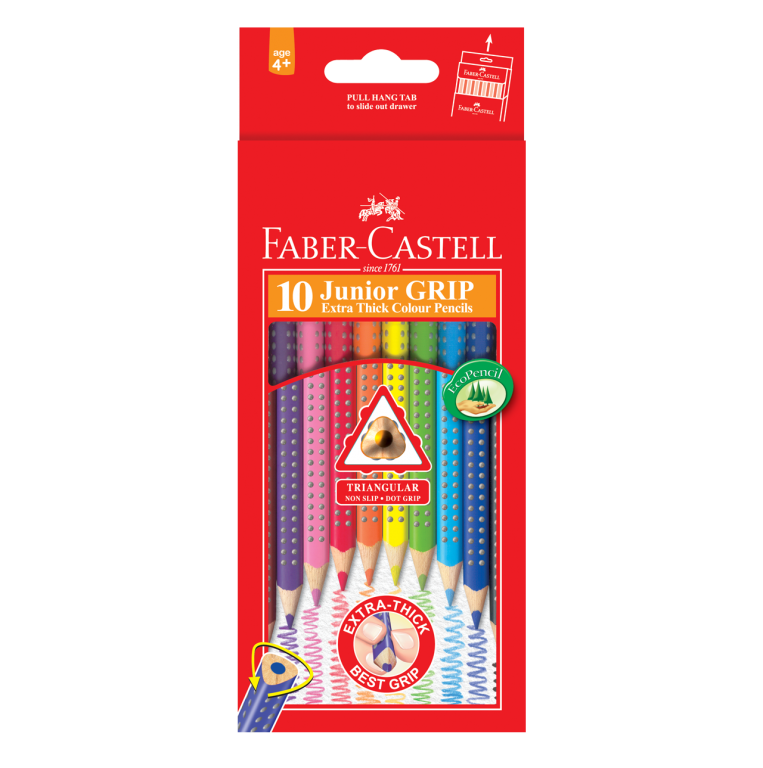 Image shows 10 packaged Faber-Castell Junior Grip Colour Pencils