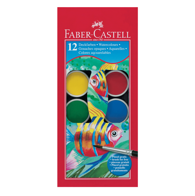 Image shows 12 packaged Faber-Castell watercolour paint