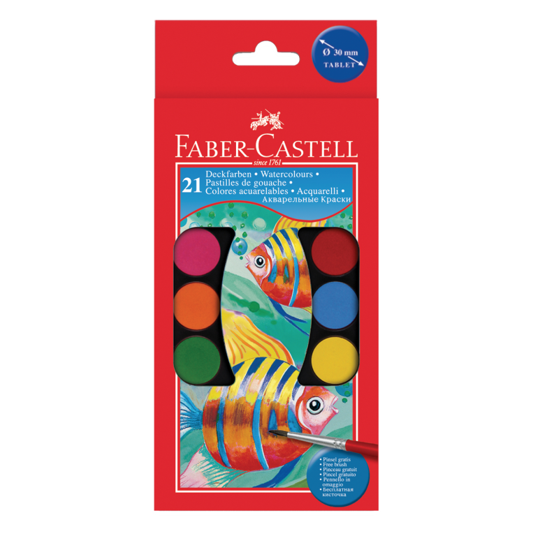 Image shows 21 packaged Faber-Castell watercolour paint