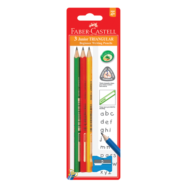 Image shows 3 Faber-Castell Junior Grip pencils with a sharpener