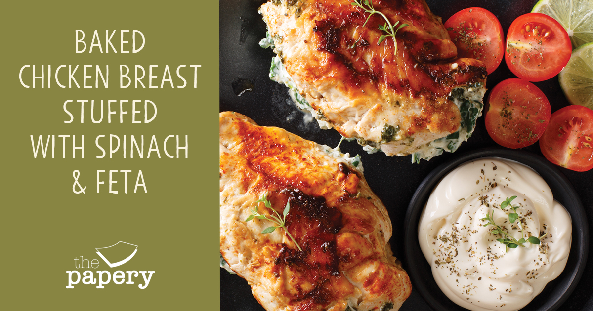 Baked Chicken breast stuffed with spinach & feta