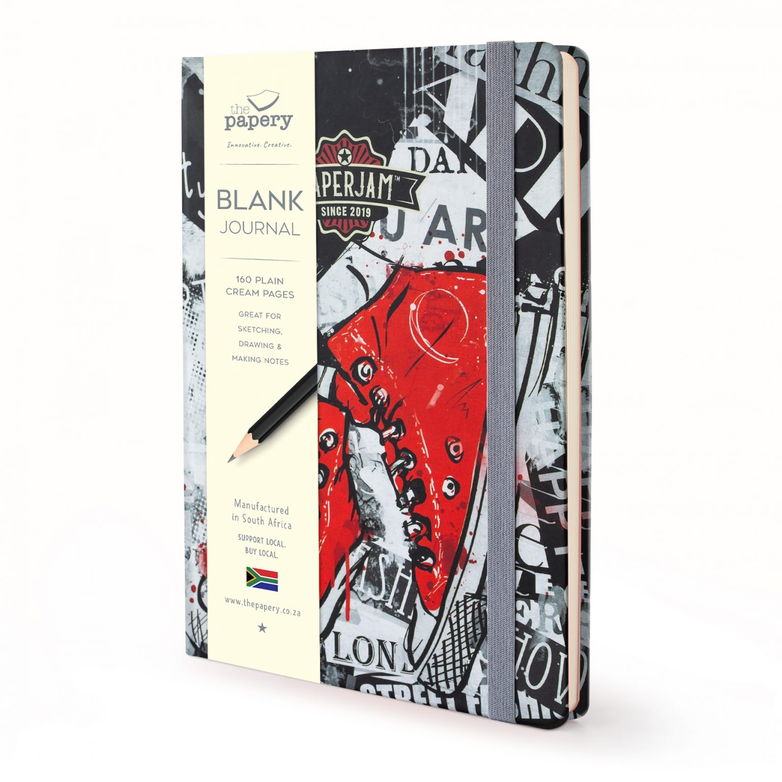 Image shows a retro hardcover journal with red sneakers