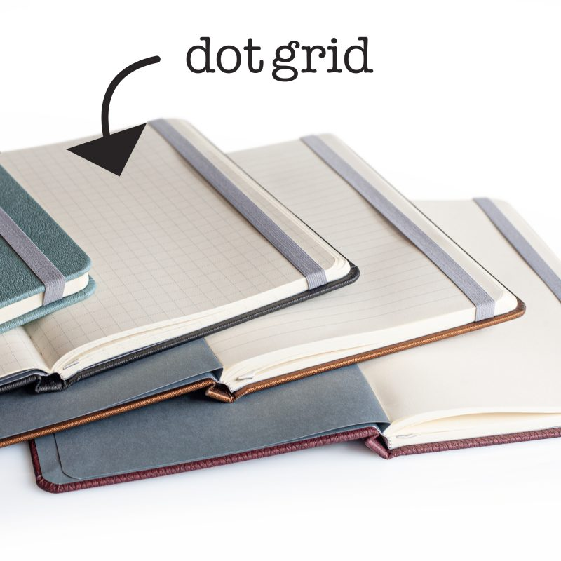 Image showing the 3 different styles of pages of the journals - dot grid, blank or lined