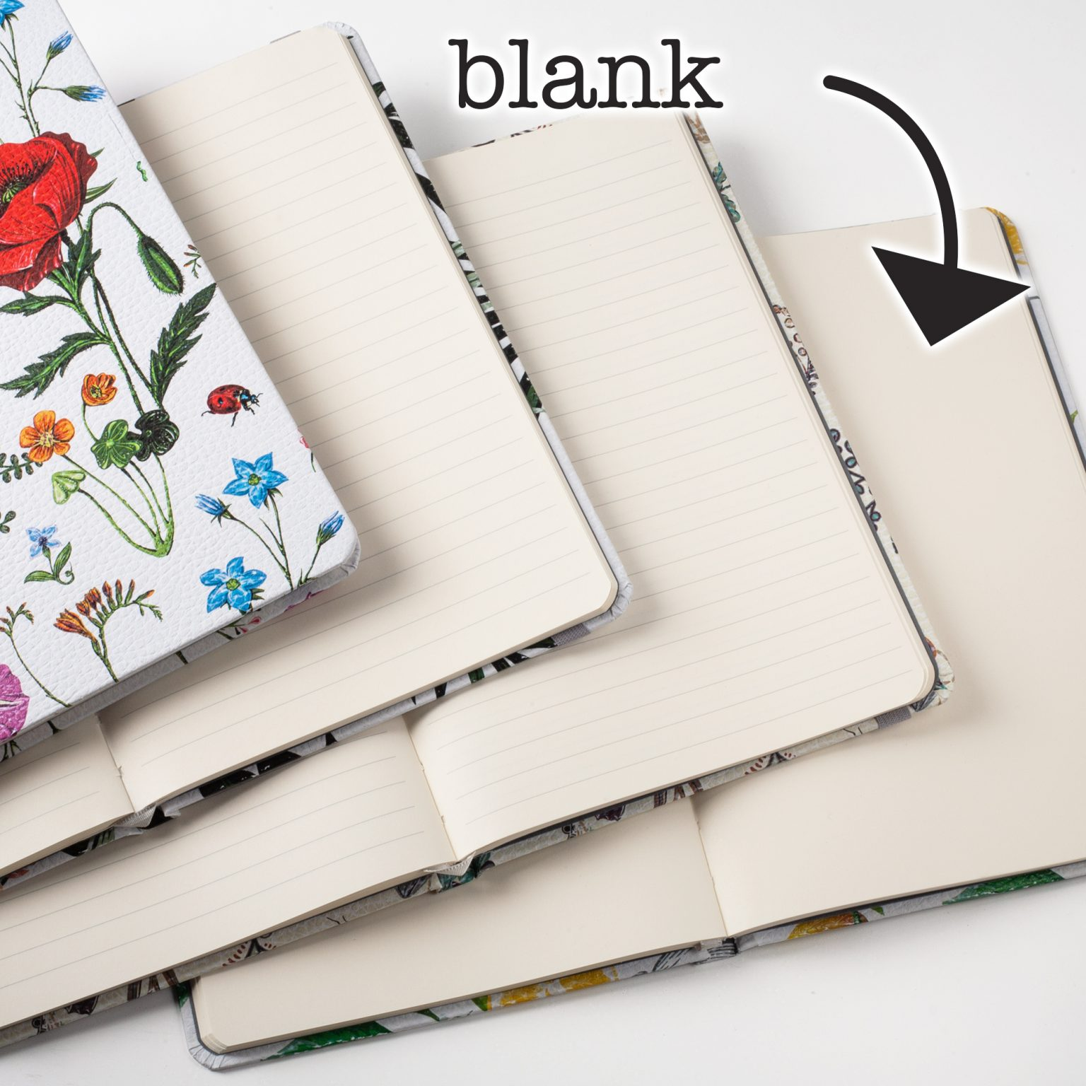 Image shows the inside of the floral hardcover journals