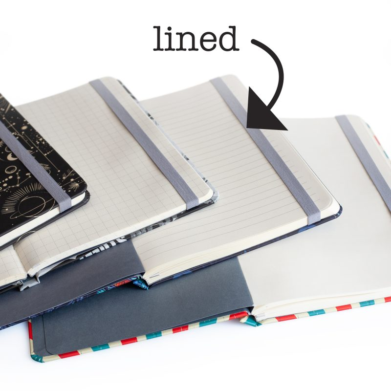 Image shows the inside of the retro hardcover journals