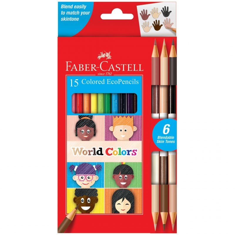 Image shows the front of 15 packaged Faber-Castell Colored Eco Pencils
