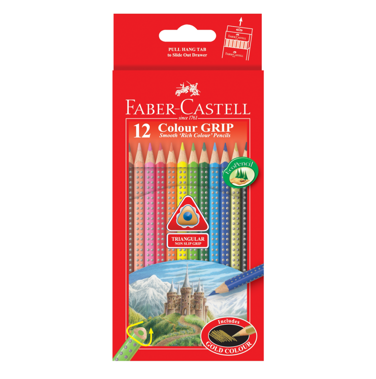 Image shows 12 packaged Faber-Castell Colour Grip Pencil Crayons