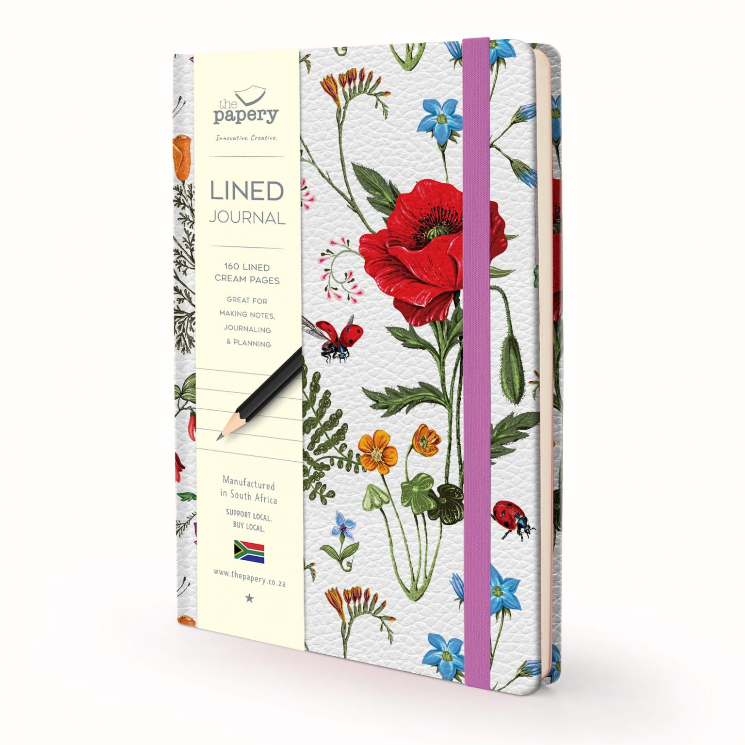 Image shows a Designer Floral - Flowers 'n Bugs Lined Journal