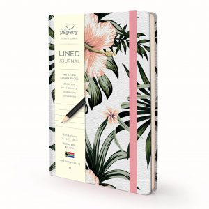 Image shows a Designer Floral - Hibiscus Lined Journal