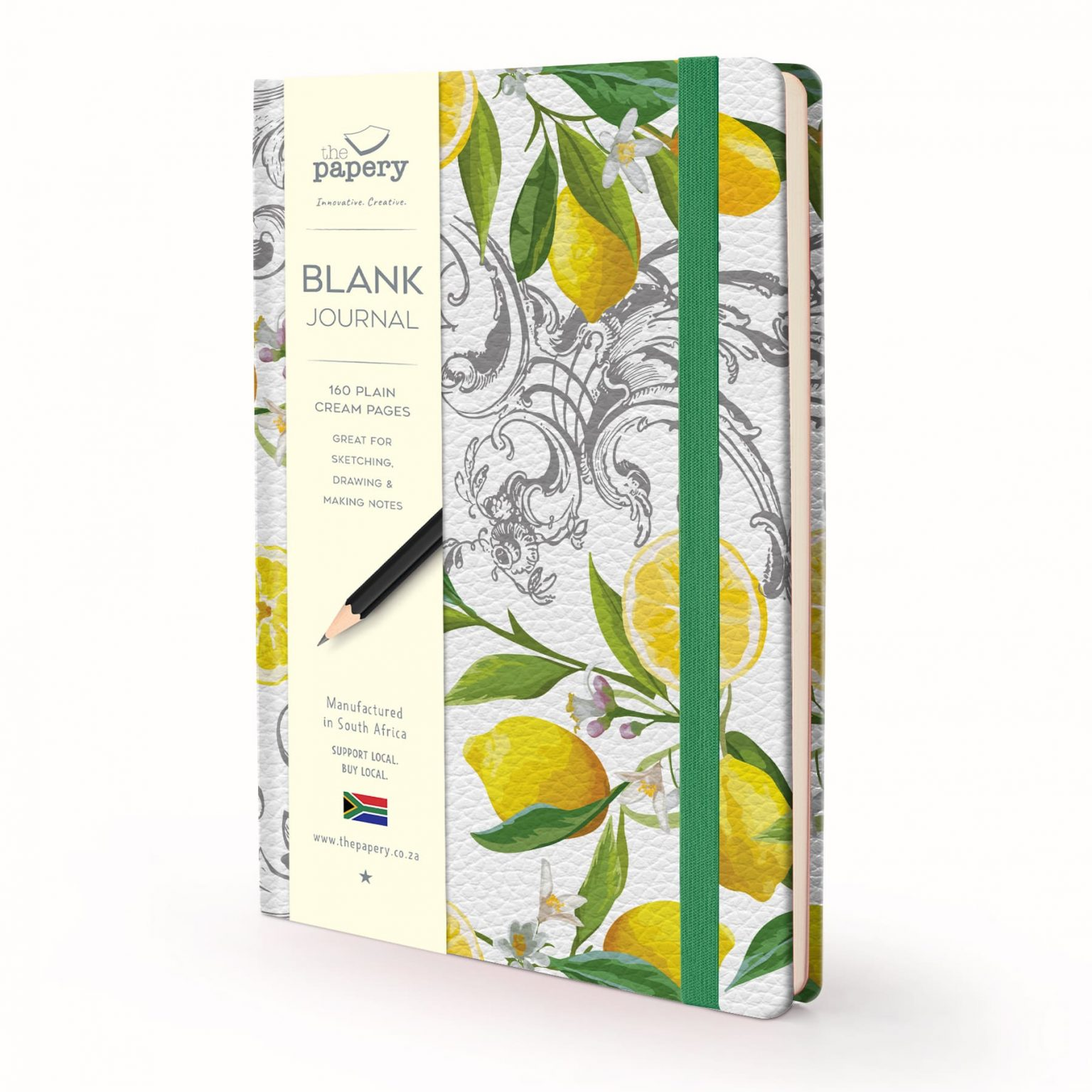 Image shows a Designer Floral - Lemon Blank Journal