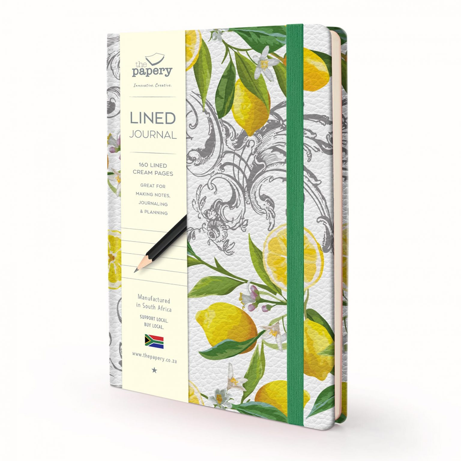 Image shows a Designer Floral - Lemon Lined Journal