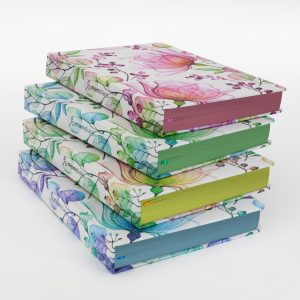 Image shows 4 WOW Diaries in different colours